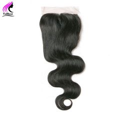 Vallbest Brazilian Body Wave Lace Closure 4X4 Human Hair Bundles 120% Density Natural Black Hair Medium Brown Free Part Baby