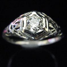 Art Deco Old European Cut Diamond 18k White Gold Engagement Ring Vintage Estate by sohojewelers on Etsy https://www.etsy.com/listing/240092887/art-deco-old-european-cut-diamond-18k