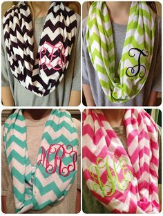 Monogrammed Chevron Infinity Scarf Knit Jennifer Bell I need this Chevron Infinity Scarves, Cute Scarfs, Monogram Gifts, Chevron Monogram, Embroidery Applique, Embroidery Ideas, Scarf Knit, Lettering, Look Fashion