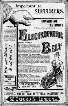 Electropathic Belt for weak nerves and hysteria. A boon to women.