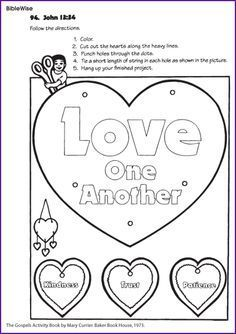 A Fun Craft Project For Young Children Cut Out The Hearts Color And Hang Up Your Finished Heart That Says Love One Another