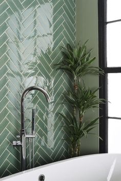 For a more subtle approach to green tiles, why not try 'Pasture' from The Winche. For a more subtle approach to green tiles, why not try 'Pasture' from The Winchester Tile Compa Downstairs Bathroom, Bathroom Renos, Laundry In Bathroom, Small Bathroom, Bad Inspiration, Bathroom Inspiration, Glazed Brick, Glazed Tiles, Beautiful Bathrooms