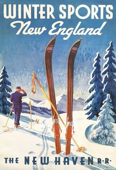 Winter Sports in New England vintage ski poster