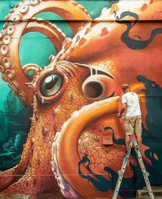 Daily news on all things Graffiti & Street Art related Artwork by the very best graffiti artists & street artists around the world. 3d Street Art, Murals Street Art, Street Art Graffiti, Street Art News, Urban Street Art, Graffiti Murals, Best Street Art, Amazing Street Art, Art Mural