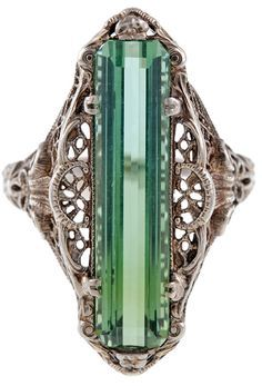 Antique Green Tourmaline Filigree Jewelry Ring