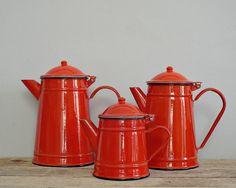 red enamel COFFEE pot - lovely vintage rustic tea POT, coffeepot teapot kettle, ENAMELWARE pitcher, kitchenware, retro home decoration