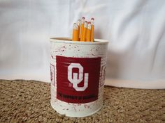 OKLAHOMA SOONERS Recycled Can Holder by KreationsGalore on Etsy