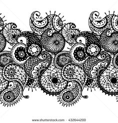 Abstract lace pattern with paisley, coloring for adults, elements for the eastern decor.