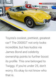Iconic Toyotas James Bond, No Worries, Toyota, The Incredibles, Cool Stuff, Celebrities, Car, Cool Things, Automobile