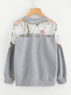 Embroidery Mesh Paneled Marled Sweatshirt -SheIn(Sheinside) – Embroidery Mesh P… - Teen Clothing Girls Fashion Clothes, Teen Fashion Outfits, Mode Outfits, Cute Fashion, Look Fashion, Fashion Dresses, Teen Clothing, Tween Fashion, Daily Fashion