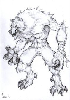 werewolf sketch by LeoniFerraz on DeviantArt Monster Sketch, Monster Art, Creature Drawings, Animal Drawings, Dark Art Drawings, Drawing Sketches, Werewolf Art, Werewolf Drawings, Furry Drawing