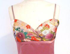 KIMONO Dress vintage wedding pink kimono satin by Shantique
