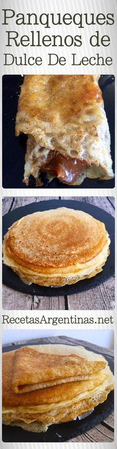 Panqueques con dulce de leche Ingredientes: Huevos 2 Harina 220 gramos Azúcar 3 cucharadas soperas Leche 1/2 litro Esencia de vainilla Relleno: Dulce de leche Varios: Azúcar impalpable para espolvorear Modo de Preparación Paso 1: Si tenemos batidora eléctrica batir los huevos con el azúcar agregar la leche y la esencia y por último la harina,mezclar bien hasta obtener una masa líquida y sin grumos.( también se puede hacer de forma manual con batidor de alambre) Dejar descansar unos mi