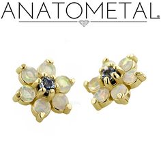 Threaded flowers are machined from one piece of stainless steel, titanium or cast in 18k gold and available with 1.5mm stones.