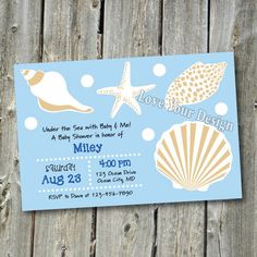 Under the Sea Shells Baby Shower Invitation - YOU PRINT Ocean by LoveYourDesign on Etsy https://www.etsy.com/listing/119382192/under-the-sea-shells-baby-shower