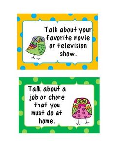 Free! Oral language Cards! 167 oral language prompts to promote discussions between students.