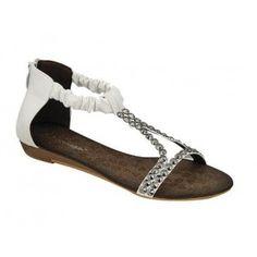 AMPLY-2 Women Ankle/T Strap Sandal - White