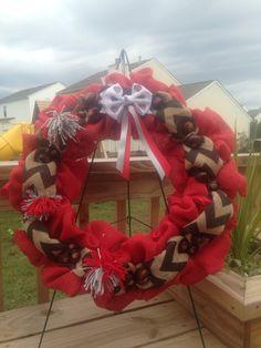 Ohio State University Themed Burlap Wreath ~by me~
