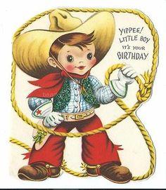 Vintage Greeting Birthday Card For Boy Cowboy Glitter 1950's Gatto