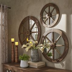 Moravia Round Reclaimed Wood Wagon Wheel Wall Mirror by SIGNAL HILLS - Free Shipping Today - Overstock.com - 18938295 - Mobile