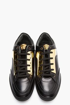 VERSACE Black leather gold plate sneakers