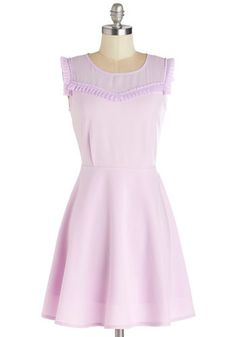 Ready to Celebrate Dress by Kling - Purple, Solid, Ruffles, Daytime Party, Pastel, A-line, Sleeveless, Better, Scoop, Mid-length, Chiffon, S...