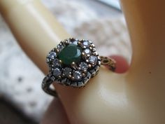 Vintage Art Deco Rose Gold/925 Sterling Silver .68ctw Emerald & White Sapphire Ring Size 8, Wt.  4.1 Grams by TamisVintageShop on Etsy
