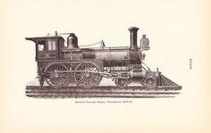 1892 Technical Drawing - Train Locomotive - Antique Math Geometric Mechanical Interior Design Art Illustration Framing 100 Years Old