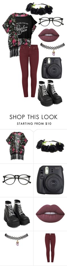 """Panic! At The Disco 2"" by causingpanicatthetheater ❤ liked on Polyvore featuring INDIE HAIR, Fuji, Lime Crime, Wet Seal and Paige Denim"