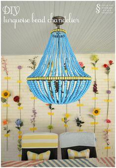 diy turquoise bead chandelier