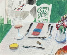 David Hockney (British, b. 1937), Ma Maison, 1978. Coloured pencil, wax crayon, gouache and ink on paper, 35.5 x 42.8 cm.