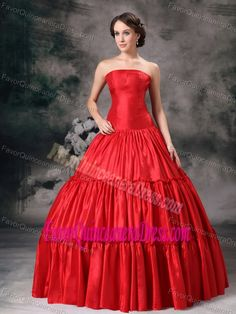 Red Modern Ball Gown Strapless Taffeta Dresses for Quince in Floor-length
