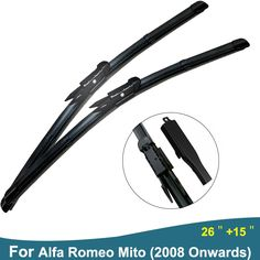 """Rubber Wiper blade For Alfa Romeo Mito (2008 onwards) 26""""+15"""" Windshield Wiper Arms 2pcs/Pair #Affiliate"""