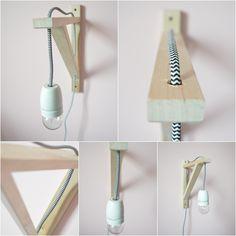 Nachtlampje van boekensteun met strijkijzersnoer - 101 Woonideeën www.stoersnoer.nl