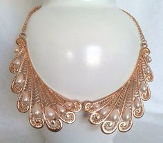 So pretty:)! - Vintage Gold and Pearl Collar Necklace by LilyAndEllieShop on Etsy, $22.00