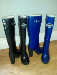Rubber booted, black and blue.