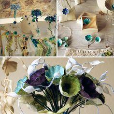 Matrimonio Eco friendly stile Monet. Eco Bouquet, segnaposto con fiori di carta . Green wedding , paper flowers bouquet, favors, table decor. Eco Wedding design by Alessandra Fabre Repetto