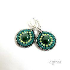 kolczyki,malachit,zielone,błyszczące,krople - Kolczyki - Biżuteria w ArsNeo