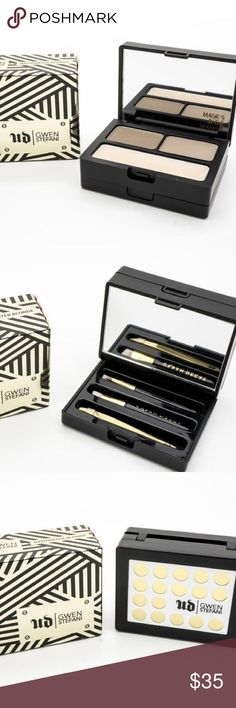 Urban Decay Gwen Stefani Brow Kit FINAL PRICE! This palm-size kit with two super-versatile brow powder shades, mini tweezers to eradicate strays, two mini angled brushes to shade and sculpt, two mirrors (one magnifies so you won't miss a single stray), and wax to set.  The two ultra-fine, silky powder shades in Bathwater Blonde (dark/light blonde) are versatile enough for a range of blonde and brunette tones. The top tier of the case holds the powders and wax, and the bottom tier holds all…