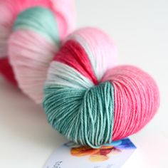 Sock Hand Dyed Yarn - Superwash Merino / Nylon - 463 yards - Rose Bush in Dark Pink, Rose Pink and Leaf Green