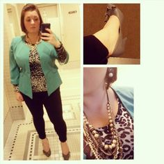 #ChubbyChique 10-28-2014 Teal blazer by #41Hawthorn via #StitchFix , black ponte zipper pants and gray animal print long sleeve shirt and gray pearl bow earrings by #ExpressFashion , pearl and mixed stands necklace by #LoveLoft , gray zipper pumps by Madden Girl