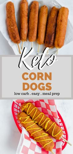 Want the flavor of a hand dipped corn dog but not the carbs? Try a keto corn dog! These corn dogs are not made with cornmeal. They are hand rolled in keto dough and fried to perfection. The result is a low carb corn dog worthy of the county fair! Easy Dinners For Two, Easy Dinner Recipes, Easy Meals, Lunch Recipes, Easy Recipes, Dog Recipes, Low Carb Recipes, Health Recipes, Corndog Recipe
