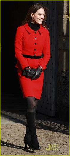 Kate Middleton red suit + black boots.