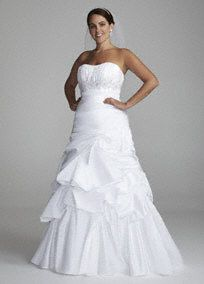 """A new twist on a traditional favorite. A fresh take on the art of the """"pick-up"""",texture and dimension create an amazing story on this romantic wedding dress.   Gown features pick up swirl skirt and empire waist with beaded applique detailing.  The ruched bodice creates a cinched waist and a flattering silhouette.  Sweep train. Sizes: 14W-26W. Available in white.  To preserve your wedding dreams, try our Wedding Gown Preservation Kit."""