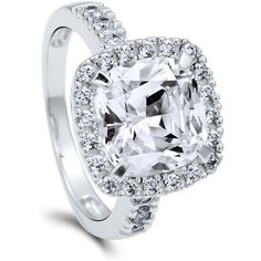 BERRICLE Sterling Silver 4.11 ct.tw Cushion CZ Halo Engagement Wedding... ($70) ❤ liked on Polyvore featuring jewelry, rings, clear, women's accessories, cubic zirconia anniversary rings, sterling silver rings, cubic zirconia rings, round cut engagement rings and sterling silver wedding rings
