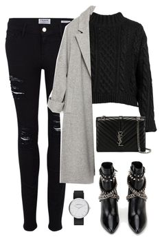 """Untitled #2940"" by charline-cote ❤ liked on Polyvore featuring moda, Frame Denim, Yves Saint Laurent, Zara e Marc Jacobs"