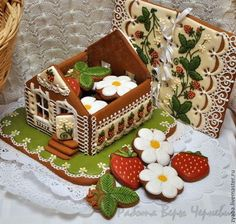 """Love this idea - a gingerbread house """"box"""" filled with iced biscuits. Christmas Cookies Gift, Christmas Gingerbread House, Christmas Treats, Christmas Baking, Gingerbread Cookies, Gingerbread Houses, Christmas Goodies, Super Cookies, Iced Cookies"""