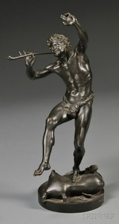 """After Eugene Louis Lequesne (French, 1815-1887)   Figure of Pan, the scantily clad figure dancing atop a cushion and playing a pipe, dark brown/black patina, with cast signature """"LEQUESNE"""" and further inscribed """"Susse Fres. Edt. Paris,"""" with Susse Freres foundry stamp."""