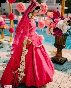 Pin by Dulhaniyaa - India& First Wedding Planning Company on Pink Lehenga in 2020 Bridal Lehenga Images, Pink Bridal Lehenga, Wedding Lehenga Designs, Pink Lehenga, Indian Bridal Lehenga, Lehenga Choli, Bridal Lehenga Collection, Lehnga Dress, Different Shades Of Pink