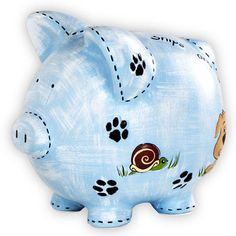 Snips & Snails Piggy Bank :: For That Occasion Personalized Piggy Bank, Personalized Gifts For Kids, Wooden Piggy Bank, Pig Bank, Penny Bank, Paint Your Own Pottery, Cute Piggies, This Little Piggy, Money Box